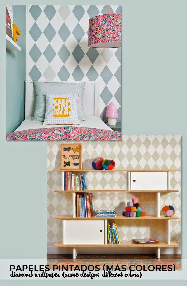 15 best papel pintado rombos diamond wallpaper images on - Papel para decorar paredes ...