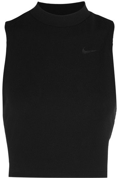 Nike - Cropped Ribbed Dri-fit Stretch-jersey Tank - Black -