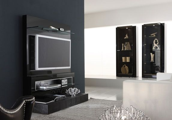 Contemporary diamond ttvstand google tv wall unit black wall tv wall pinterest flats - Modern tv interior design ...