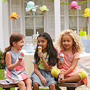 Ice Cream Party Ideas via Parents Magazine. (I did the crafts for this article!!)