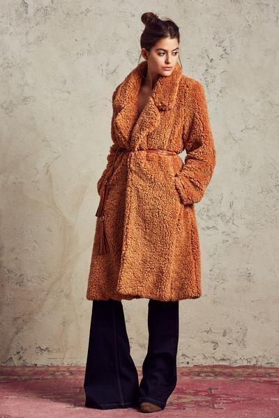 Long Violet Shag Coat in Camel – TULAROSA
