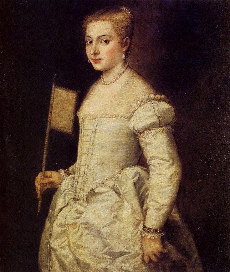 Venice, Republic of Venice    Tiziano Vecellio (Titian), 1553: Portrait Of A Lady In White     Dresden, Dresden Gallery