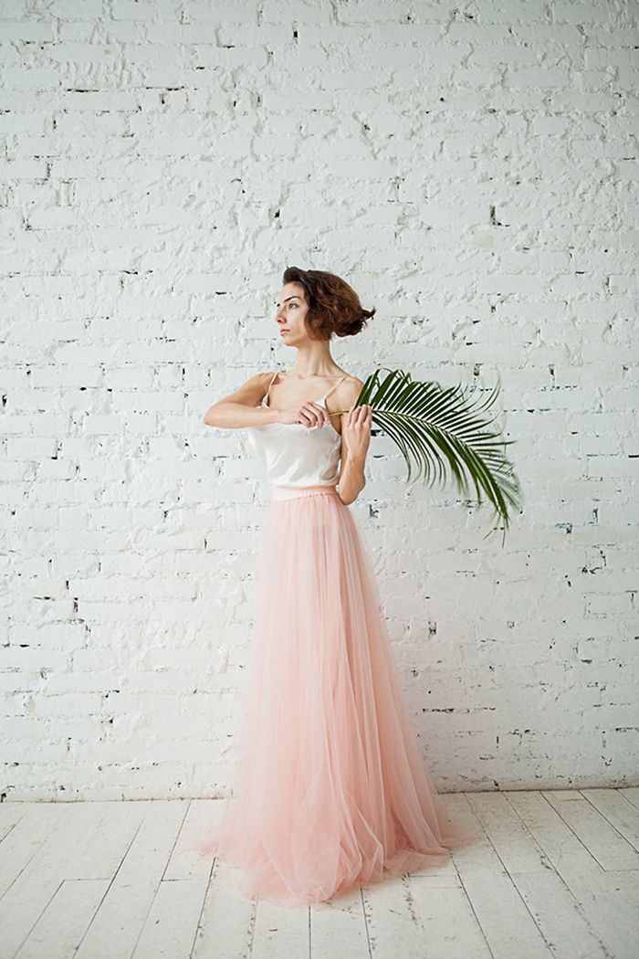 Tropical Wedding Dress in Blush Tulle