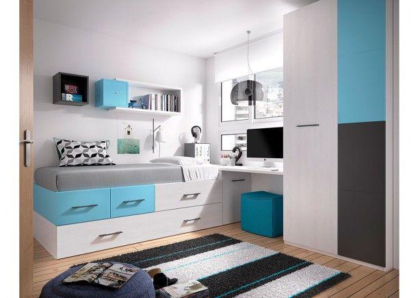 327 best images about dormitorios juveniles on pinterest for Cama nido con escritorio