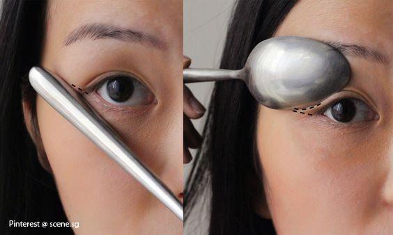 Maquillage cuillère : eye-liner, fars à paupières, mascara... Comment se faire un maquillage des yeux avec une cuillère...