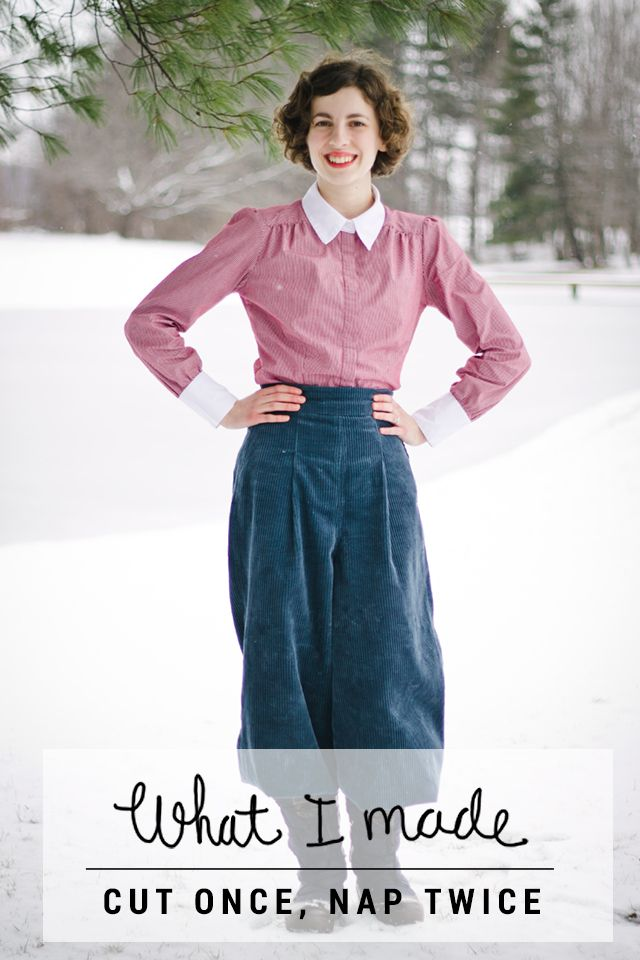 What I Made // Cut Once, Nap Twice, 1930s Ski Trousers, 1930s trousers, Plus Fours, Women's Plus Fours, Vintage Winter Fashion, Corduroy Plus Fours