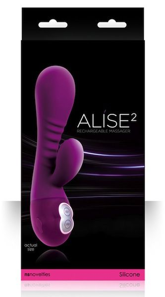 NS Novelties Alise 2 Purple Vibrator for sale AdultCity.com.au  Length: 19.05cm  Insertable Length: 14.6cm  Alise 2 Vibrator features:Multispeed and Multifunction2 independently controlled motorsWaterproofRibbed and contoured for extreme pleasureRechargeable
