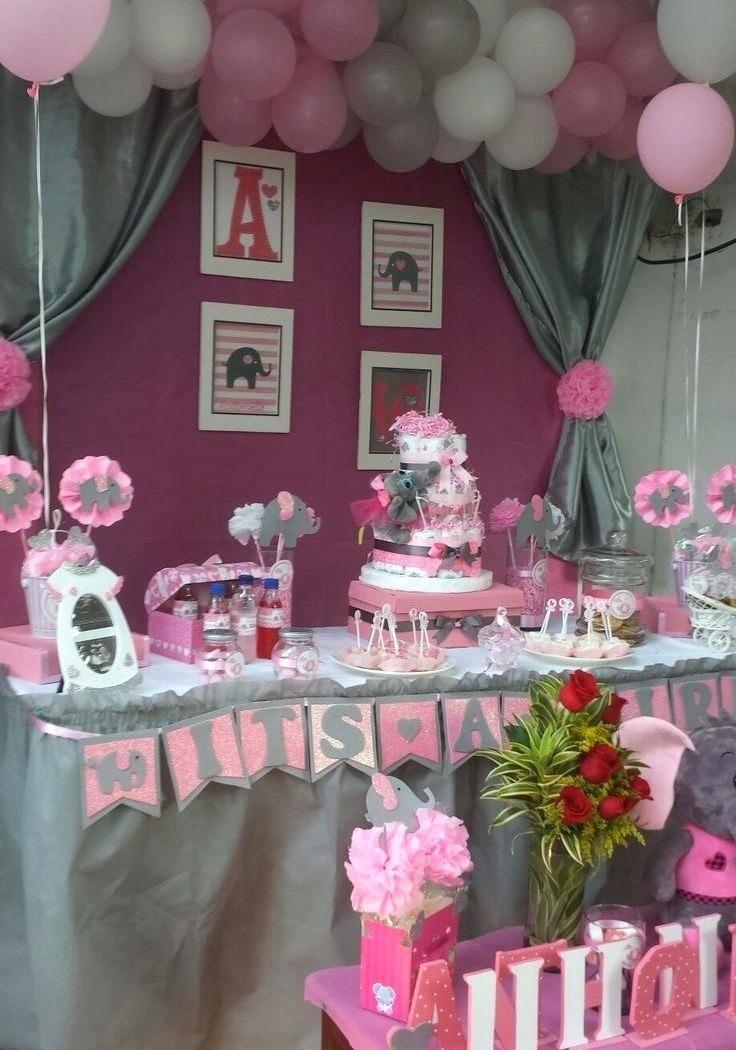 50 Best Baby Shower Decoration Ideas For Girls Baby Shower Centerpieces Pink Gray Baby Shower Elephant Baby Shower Theme