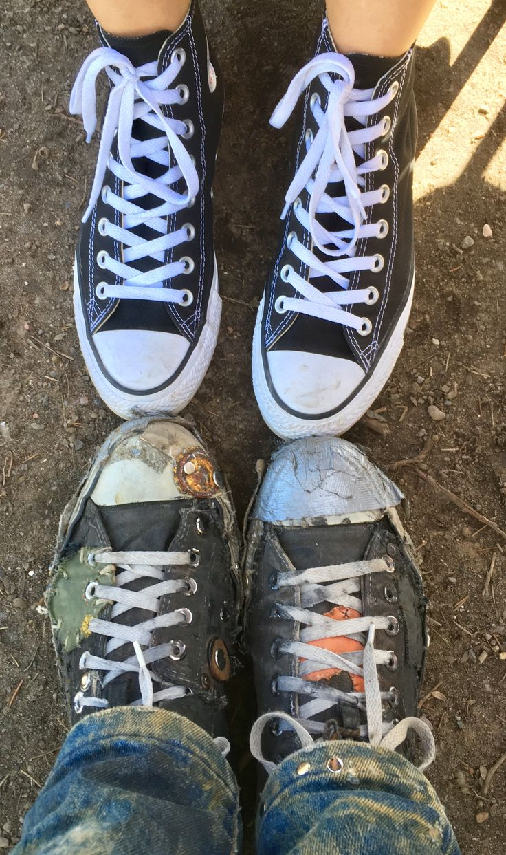 CONVERSE. ALL STAR. Worn sneakers. fjällräven. Hobo Shoes. patching. repair. Boro.Now