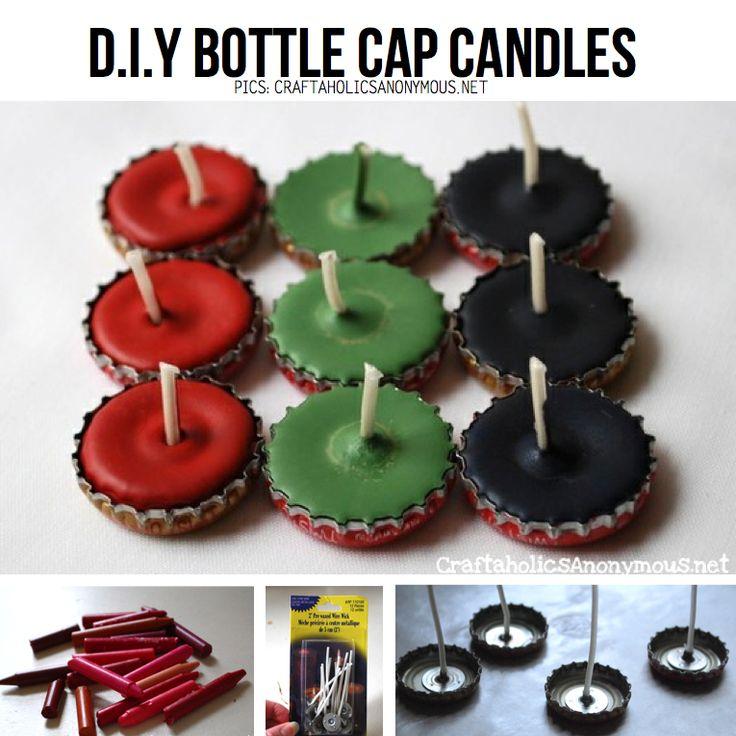 DIY bottle cap candles