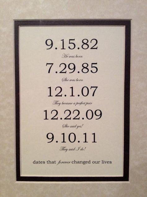 Gerahmt & mattiert benutzerdefinierte Datum-Kunstdruck – personalisierte Jahrestag Verlobung oder Hochzeit Geschenk. Benutzerdefinierte Familie – besondere Daten. 8 x 10 Zoll