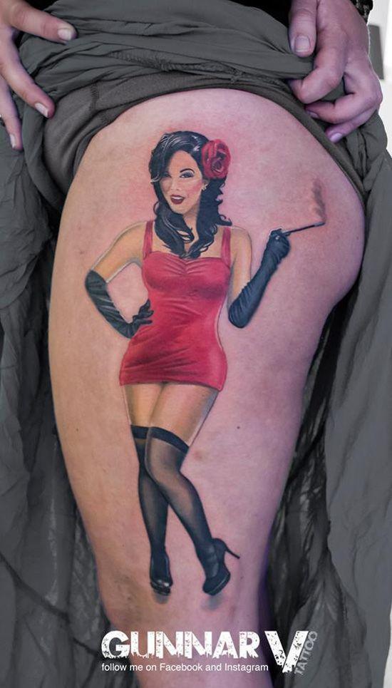 "google_ad_client = ""ca-pub-2253567122511580"";     google_ad_slot = ""8384535606"";     google_ad_width = 336;     google_ad_height = 280;        Sexy Pin Up thigh tattoo by Gunnar V"