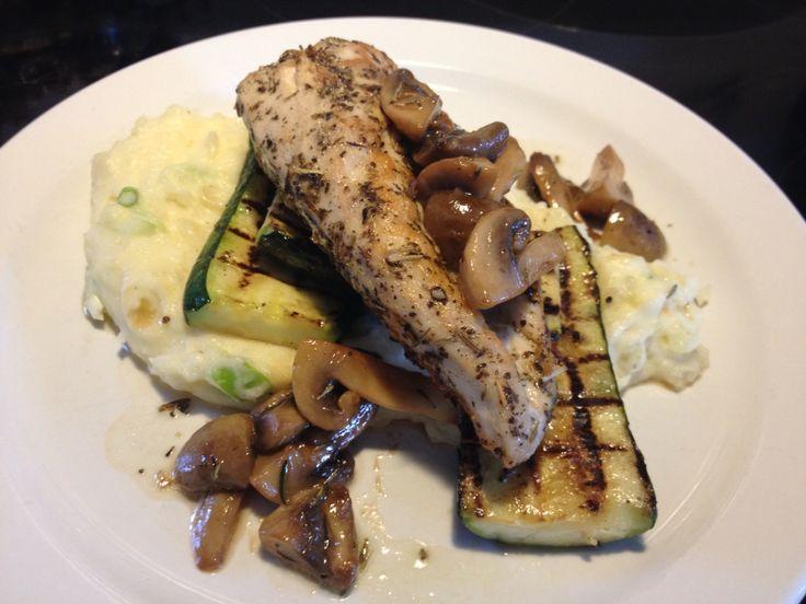 Pan Seared Herb Chicken Breast, Scallion Mash, Grilled Zucchini, Sautéed Mushroom & Pan Jus