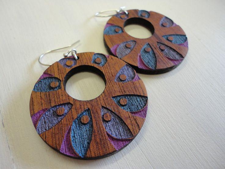 Woodie CR9m by ZingyB  Wooden Earrings Handpainted Lasercut