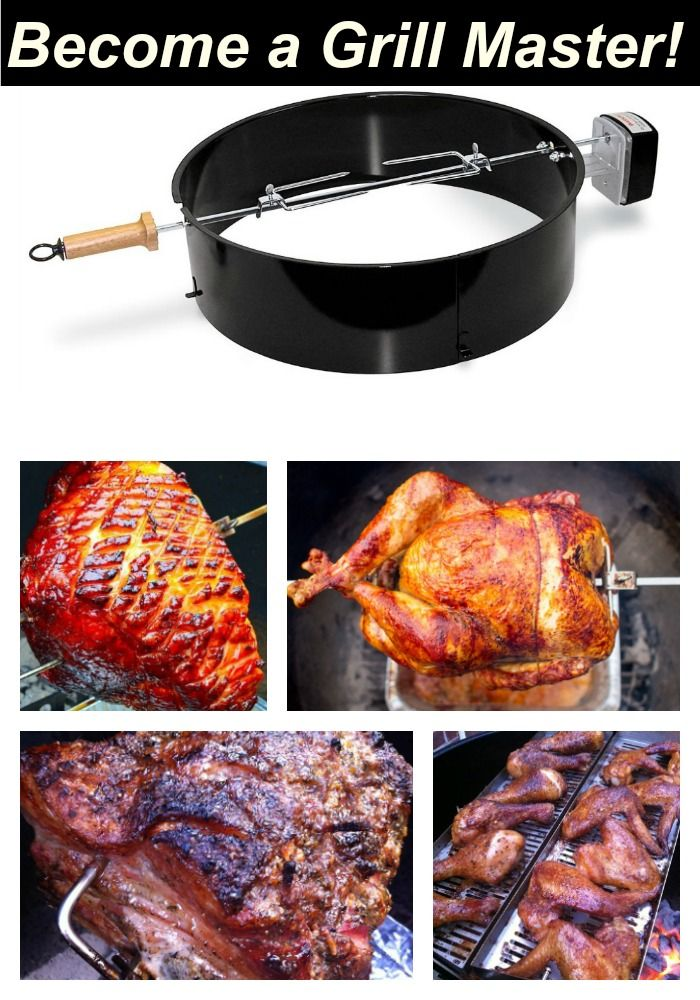 Weber Charcoal Grill Accessories: Grilling Nirvana is within reach after you add a rotisserie to your kettle. You can use a rotisserie for so much more than chicken!