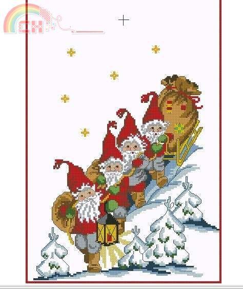 Atelje Margaretha 1863 gnomos Natal Tablerunner em uma fileira com sleigh.jpg