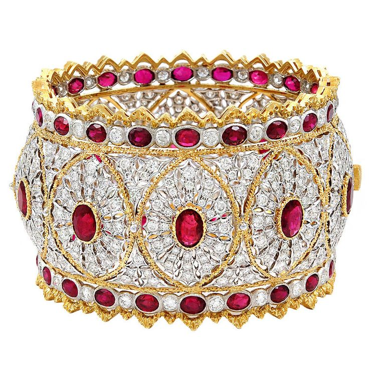 BUCCELLATI Diamond Ruby Bangle. I could get over the fact that wide bangles are too big for my short t-rex arms. Really. I know I could.