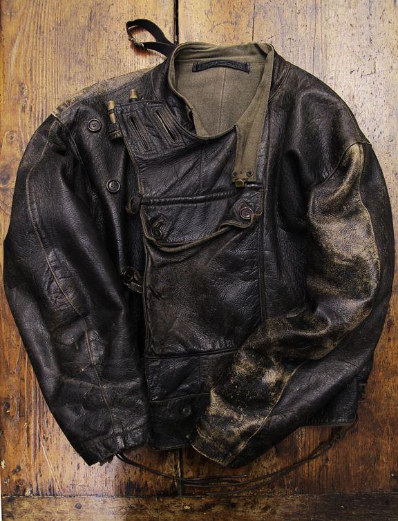 Leather Swedish army dispatch riders motorcycle tanker jacket - Motorjacka m/60.