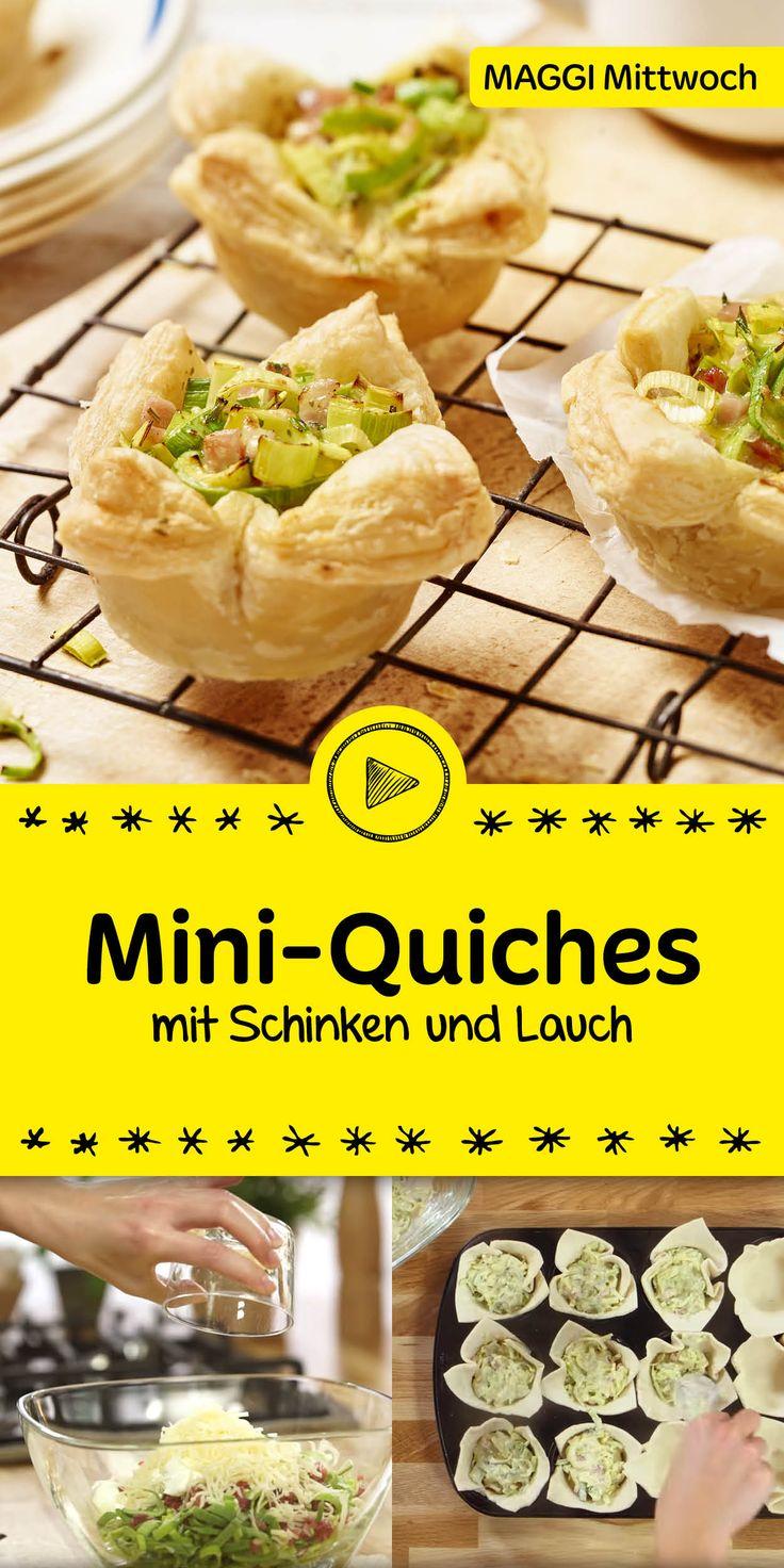 In der Muffinform gebacken sind diese Mini-Quiches ein tolles Mitbringsel und eignen sich perfekt fürs Buffet! Wir zeigen dir Schritt für Schritt, wie du die Quiches mit Schinken und Lauch zubereitest. Probier es gleich aus!