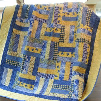 Lap Quilt, Blue and Yellow Quilt, Yellow and Blue Quilt, Lap Blanket, Lap Throw, Unisex Quilt, Bed Quilt