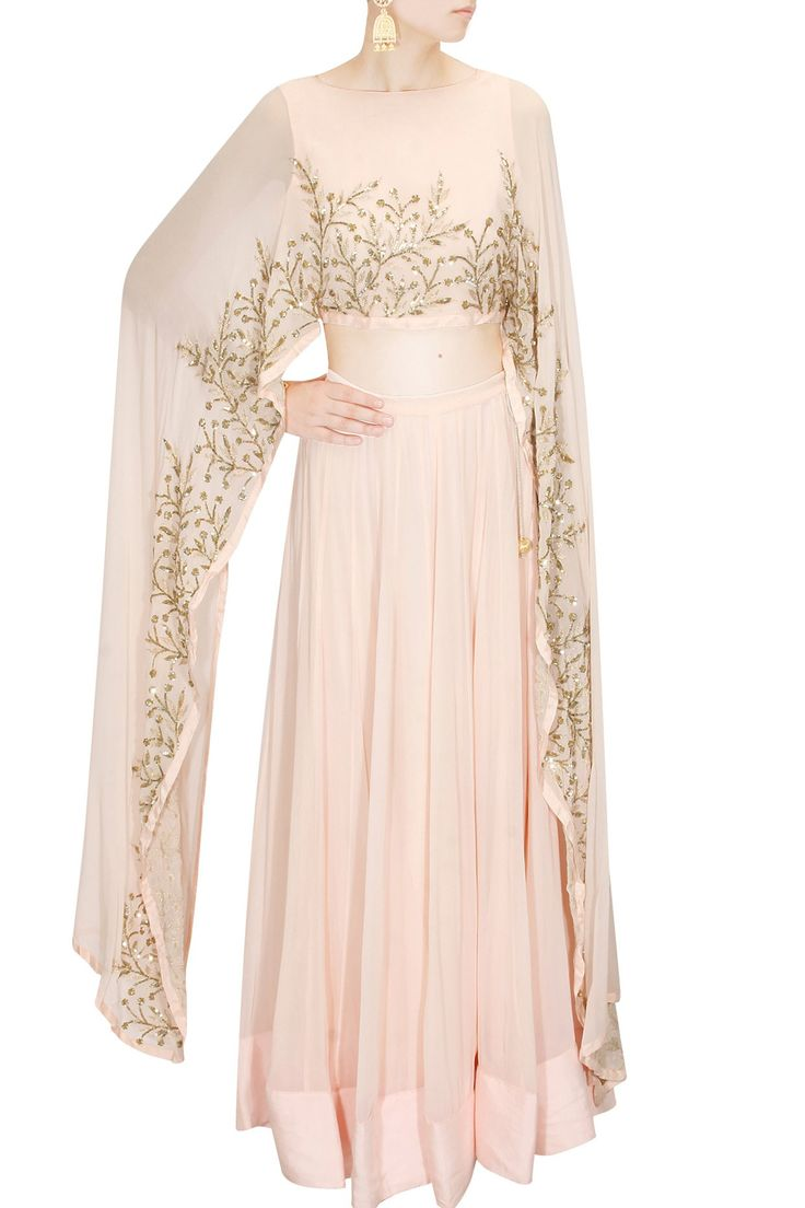Blush pink embroidered cape lehenga set available only at Pernia's Pop Up Shop.