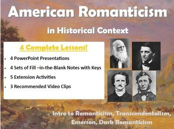 dark romantics or transcendentalists Literary characteristics: romanticism, transcendentalism  the romantic period  in the history of american literature stretches from the end of the 18th  thematic  concerns: darkness and evil literary techniques: symbolism literary works.