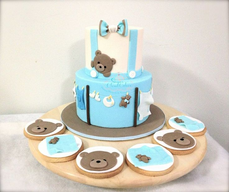Baby shower cake by Sugarcloudcakes  Baby boy cake Teddy bear cake  http://sugarcloudcakes.com.au
