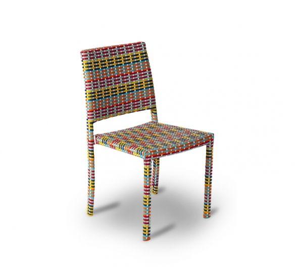 Cadeira | 57LX47PX85H. Design Marcelo Yamasita. Cadeira em fibra sintética colorida tecida à mão. Estrutura em alumínio tubular.