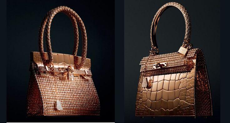 Miniaturas de bolsas Hermès -  As bolsas que são verdadeiras joias são miniaturas das bolsas originais(Birkin e Kelly)  e possuem peças cravejadas com diamantes e feitas de ouro.