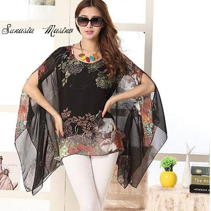 >> Click to Buy << 2017 new European and American fashion summer style shirts  code printing irregular bat sleeve short sleeved chiffon shirt woman #Affiliate