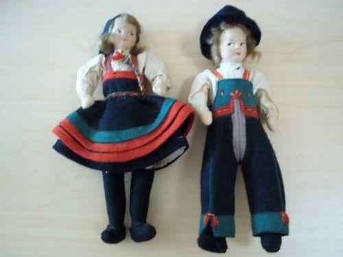 2-Vintage-Ronnaug-Petterssen-Norway-Felt-Original-Tag-Vere-Merke-Dolls-Tagged
