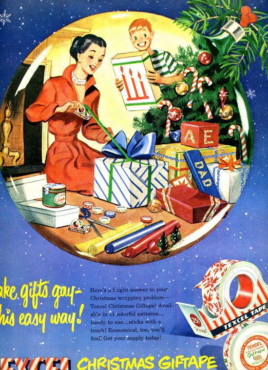 vintage 1946 christmas gifts giftape advertisement texcel.  via Etsy.