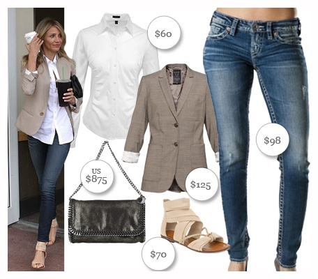 Casual - Cameron Diaz Style - by Sweetspot.ca  1. Aiko skinny mid-rise jeans, $98. Available at www.silverjeans.com. 2. Stella McCartney faux-suede clutch, US $875. Available at www.net-a-porter.com. 3. Esprit Basic ButtonFront Shirt, $60. Available at www.espritshop.ca.  4. Talula Exeter Blazer in Light Brown, $125. Available at Aritzia. 5. Laurencette flat sandal, $70. Available at www.aldoshoes.com. ca -