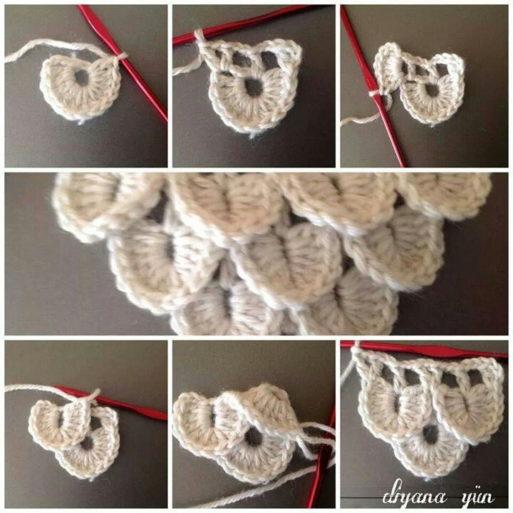 Crocodile crochet stitch, this shows how to increase as you go.