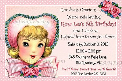 Retro Southern Belle Birthday Party  Invitation by Cottonfieldfarm cottonfieldfarm.etsy.com