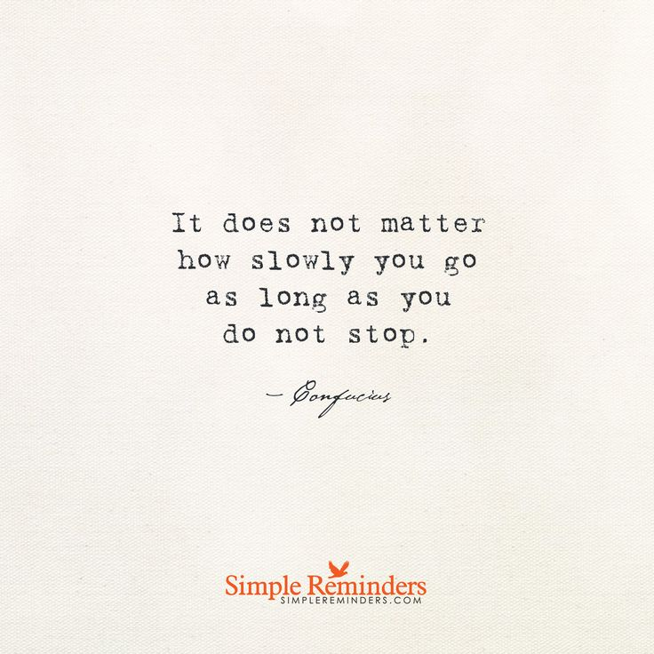 It does not matter how slowly you go as long as you do not stop. — Confucius