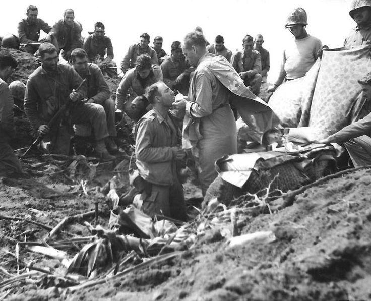 Catholic mass atop Mount Suribachi, Iwo Jima, for American Marines, circa Feb or Mar 1945
