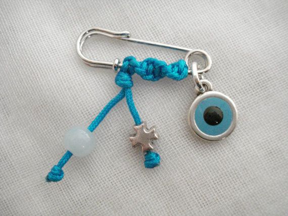 Cross safety pin Evil eye safety pin Martirika Baptism by Poppyg