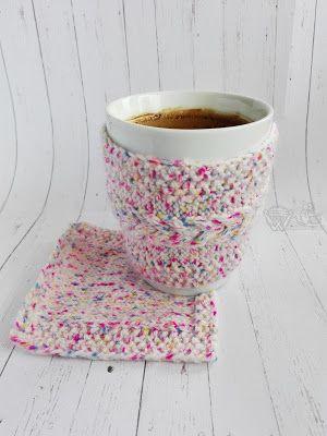ocieplacz na kubek podkładka na drutach knitted cozy cup coaster