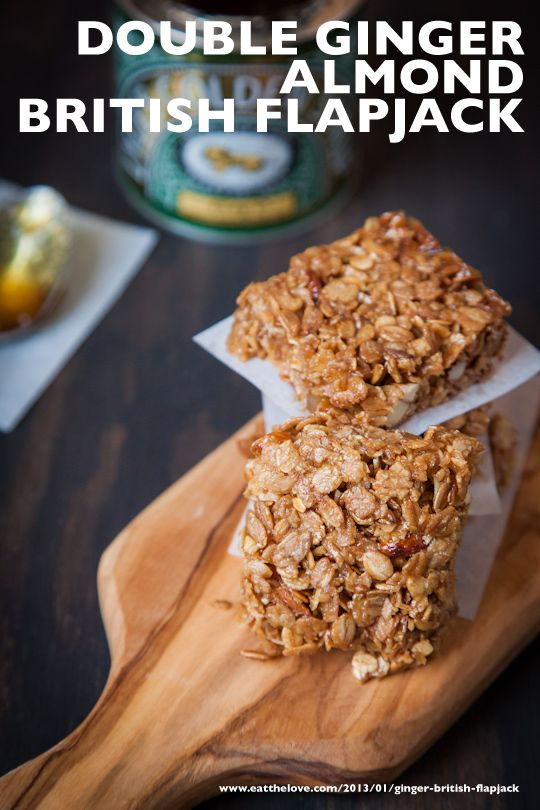 Double Ginger Almond British Flapjacks #Recipe by Irvin Lin of Eat the Love. www.eatthelove.com