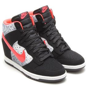 Nike Dunk Sky Hi High Womens Wedge Sneaker Black White Red Print