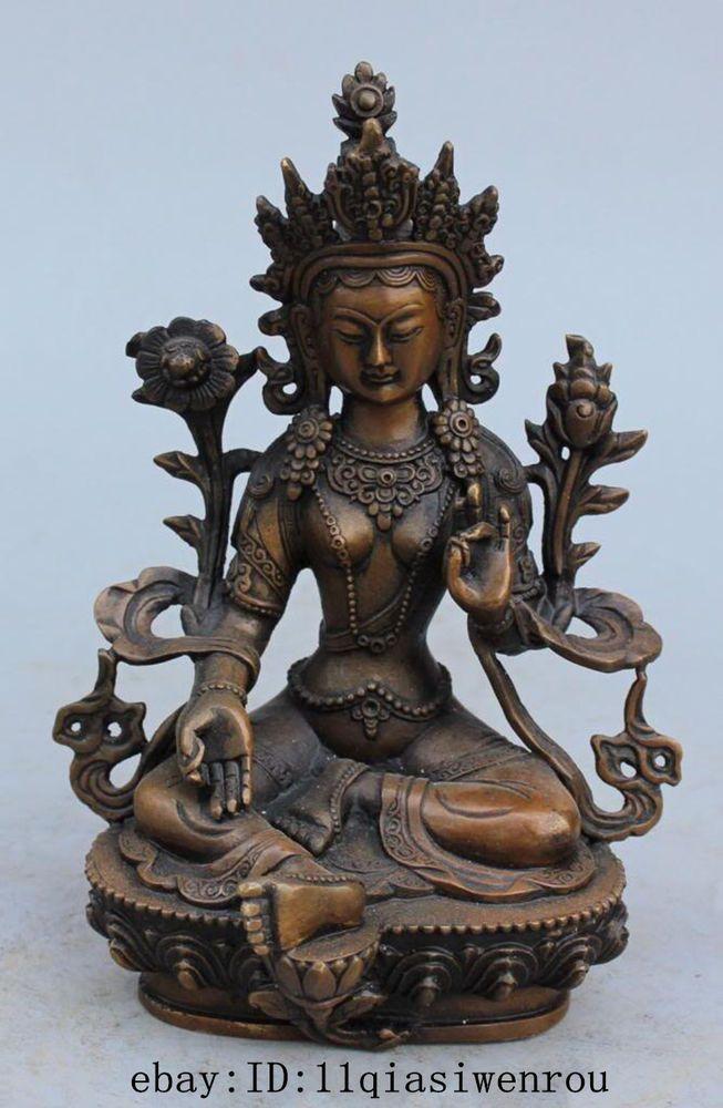 Antique Tibetan Buddhism Bronze Green Tara God Kwan-yin religious Buddha Statue