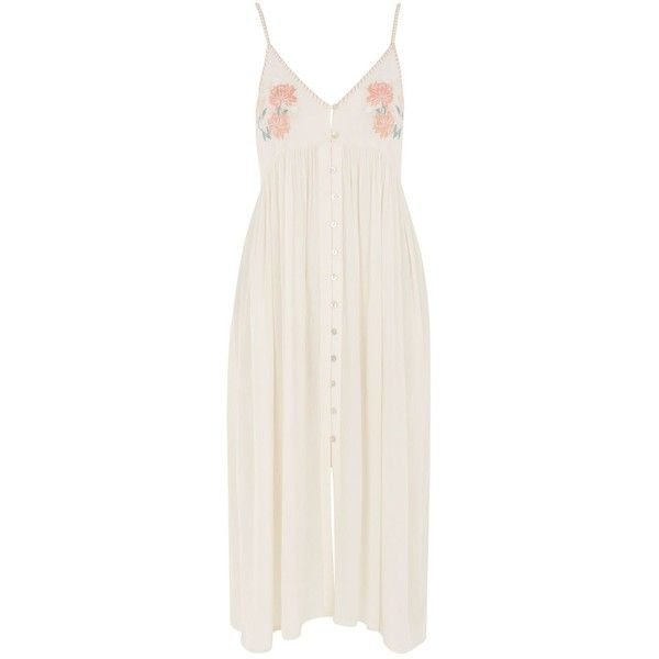 Topshop Embroidered Maxi Dress ($43) ❤ liked on Polyvore featuring dresses, topshop, maxi dress, nude, cotton dress, embroidery dress, beach dresses, cotton maxi dress and button up maxi dress