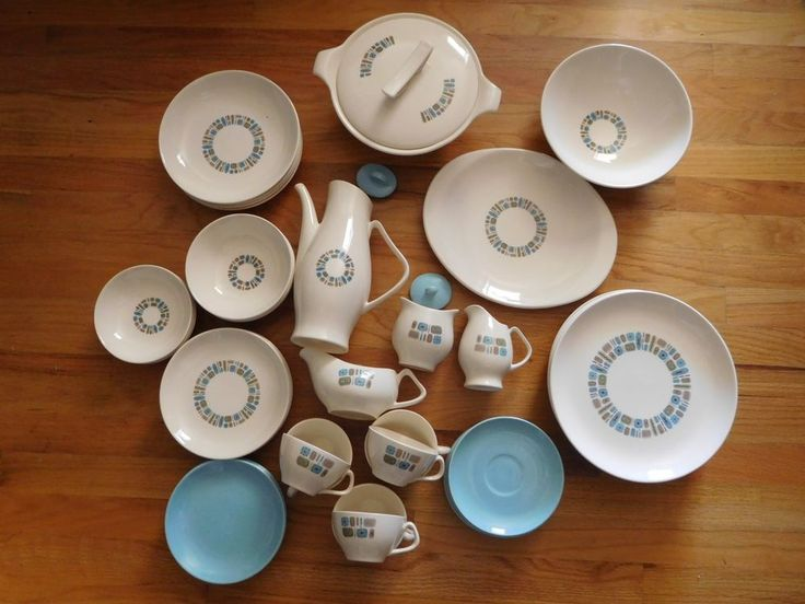 """(AMONG THE 48 PIECES ARE 7 SERVING / SERVICE PIECES. THEY ARE IN EXCELLENT CONDITION NICE AND SMOOTH. THE SUGAR BOWL HAS A TINY DING ON THE LIP BARELY NOTICABLE. 5 ) 5 BLUE SIDE PLATES 6 1/2"""". 6) COVERED CASSEROLE DISH..7) 4 SALAD BOWLS 8"""".   eBay! (affiliate)"""