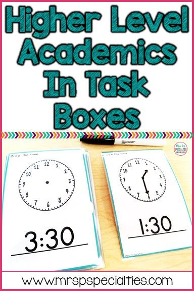 Higher Level Academics In Task Boxes! Task boxes aren't just for practicing fine motor skills and simple, repetitive directions. These hands on activities are perfect for practicing skills and teaching students to generalize.
