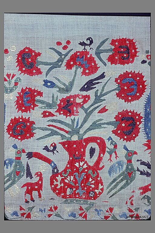 Border 18th century Greek, Ionian Islands or Epirus Silk on cotton