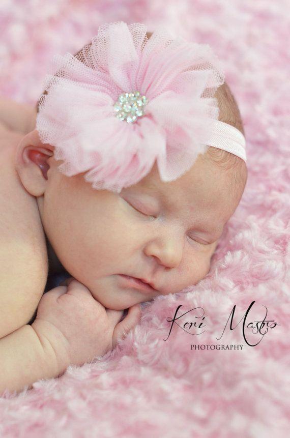 Baby headband - girl headband - pink lacy baby headband - newborn headband - ballerina baby headband - photo prop baby headband