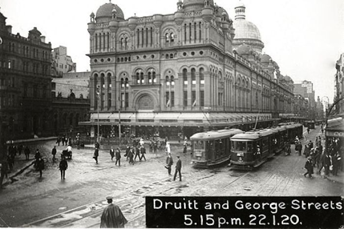 Trams run down Sydney's George Street in 1920