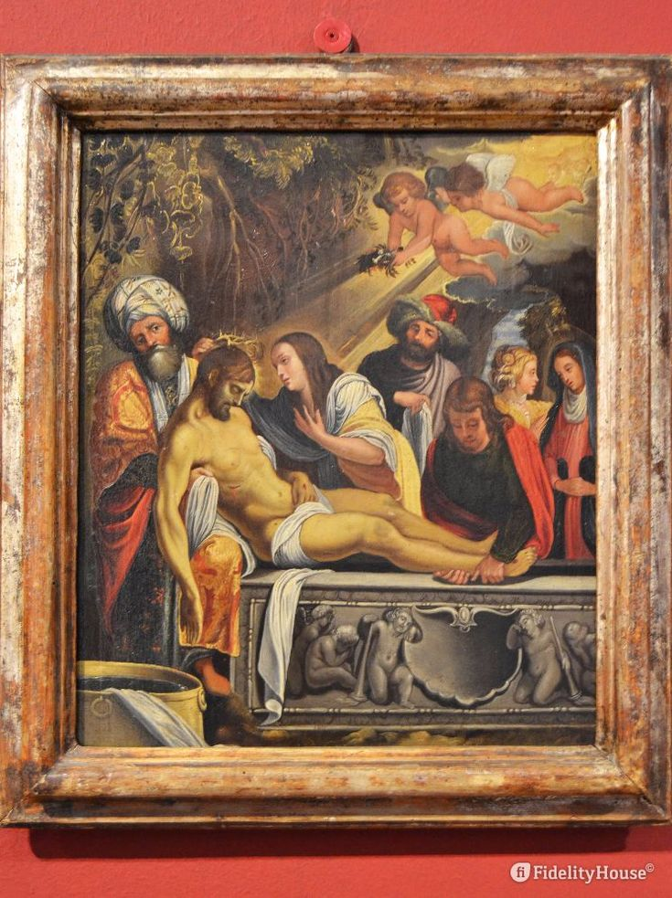Maria, Giovanni e Giuseppe d'Arimatea si prendono cura del corpo di Gesù.