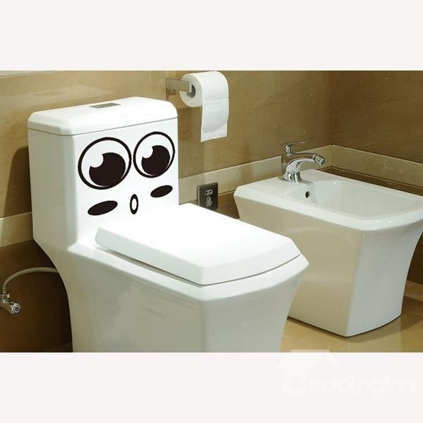 cute smile face toilet wall stickers for bathroom decoration